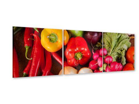 Panorama Acrylglasbild 3-teilig Gemüsefrische