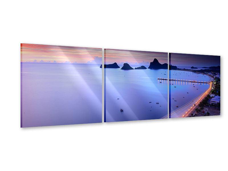 Panorama Acrylglasbild 3-teilig Ano Manao Bucht