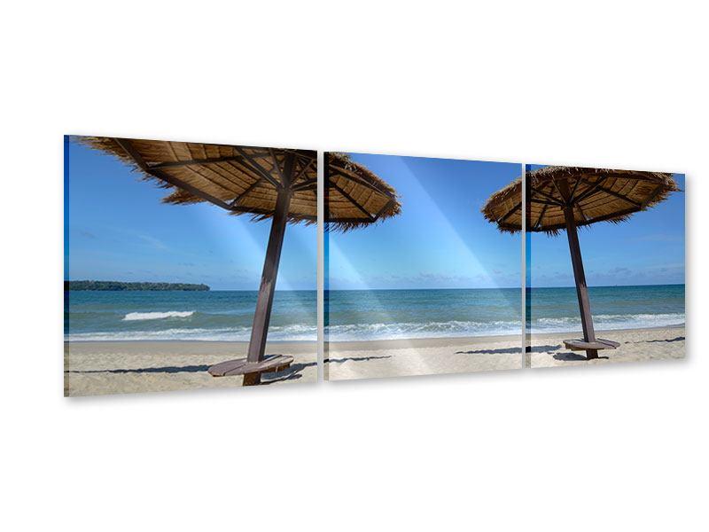 Panorama Acrylglasbild 3-teilig Umbrellas