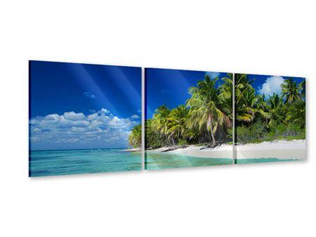 Panorama Acrylglasbild 3-teilig Die Trauminsel