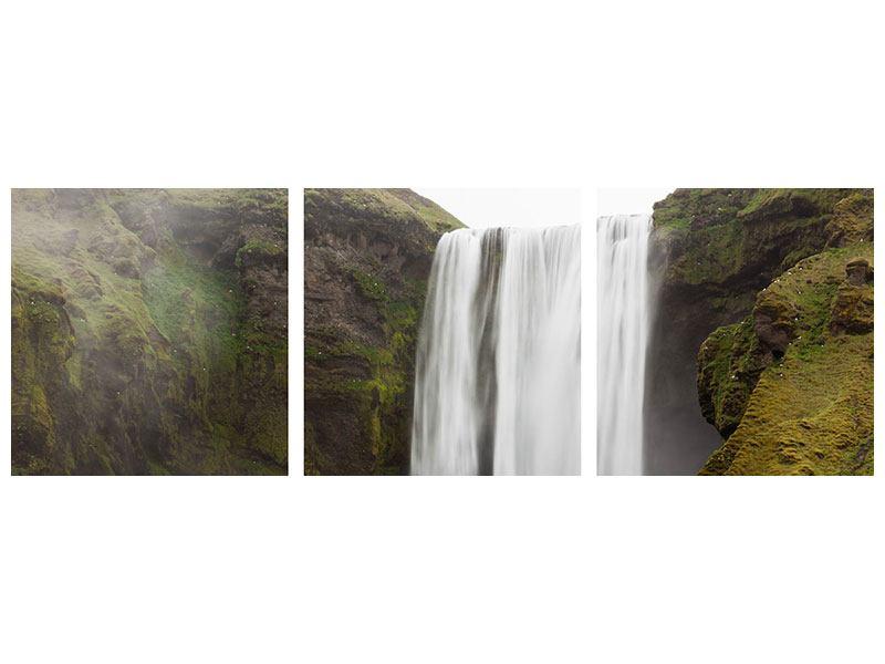 Panorama Acrylglasbild 3-teilig Skogafoss
