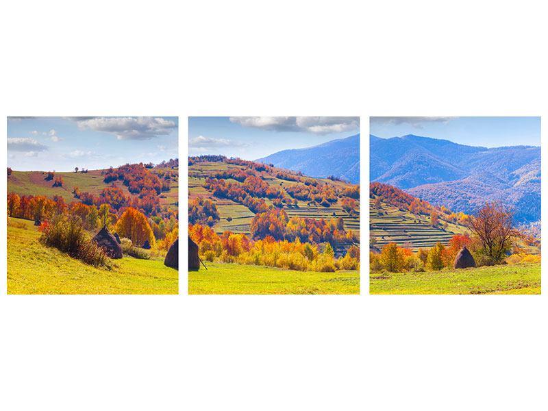 Panorama Acrylglasbild 3-teilig Herbstliche Berglandschaft
