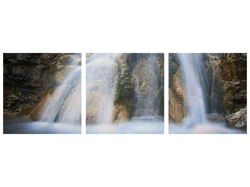 Panorama Acrylglasbild 3-teilig Imposanter Wasserfall