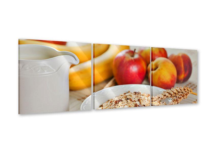 Panorama Acrylglasbild 3-teilig Frühstück