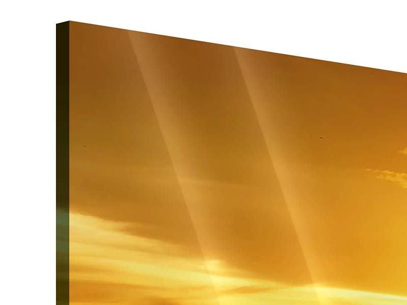 Panorama Acrylglasbild 3-teilig Traumhafter Sonnenuntergang