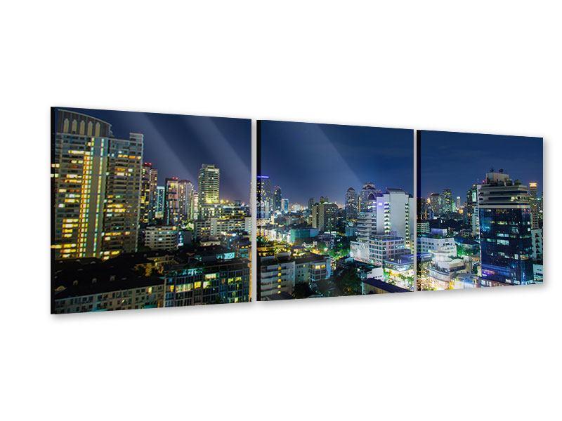 Panorama Acrylglasbild 3-teilig Skyline Nachts in Bangkok