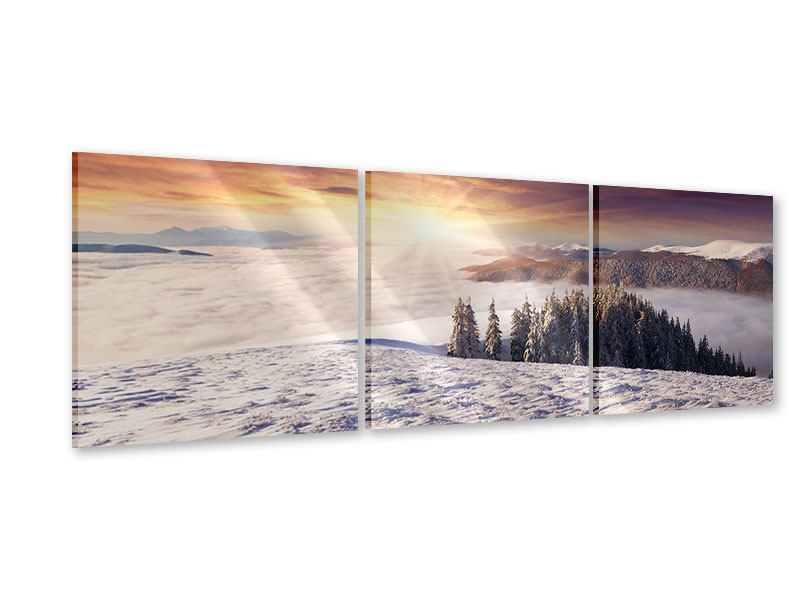 Panorama Acrylglasbild 3-teilig Sonnenaufgang Winterlandschaft