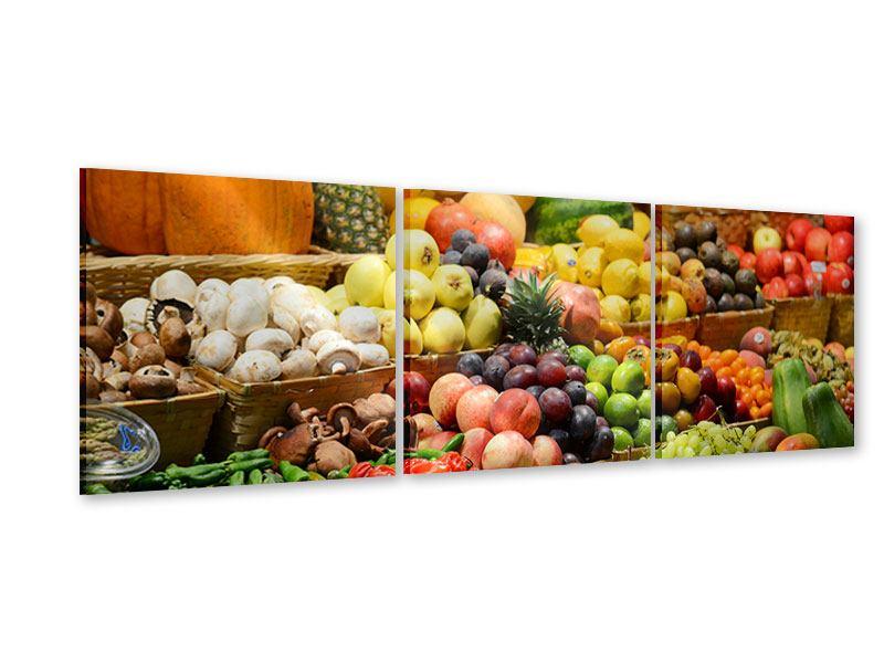 Panorama Acrylglasbild 3-teilig Obstmarkt