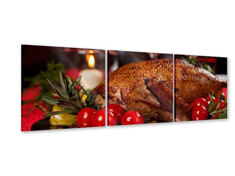 Panorama Acrylglasbild 3-teilig Köstliches Geflügel