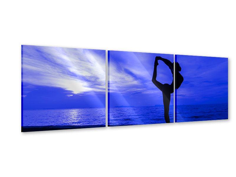 Panorama Acrylglasbild 3-teilig Yogaübung am Strand