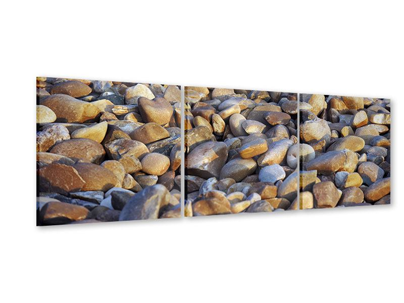 Panorama Acrylglasbild 3-teilig Strandsteine
