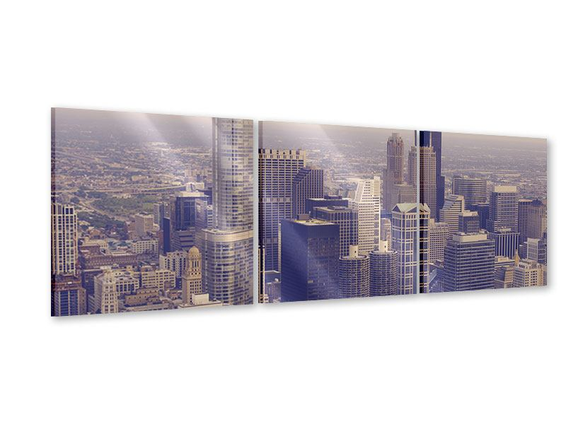 Panorama Acrylglasbild 3-teilig Skyline Chicago in Sepia