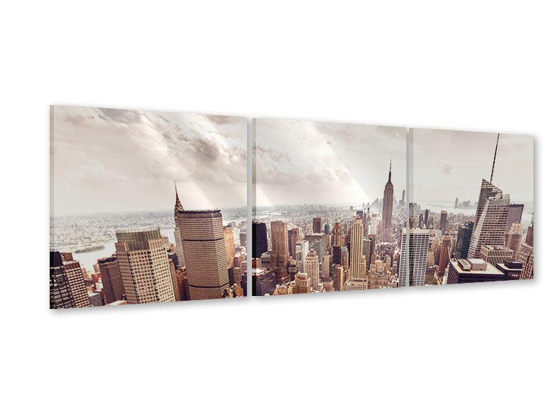 Panorama Acrylglasbild 3-teilig Skyline Über den Dächern Manhattans