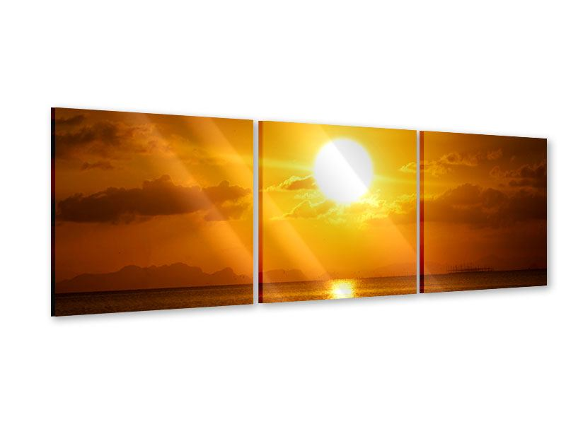 Panorama Acrylglasbild 3-teilig Sonnenuntergang See