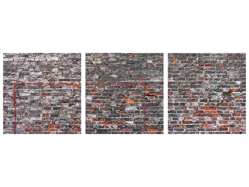Panorama Acrylglasbild 3-teilig Alte Backsteine