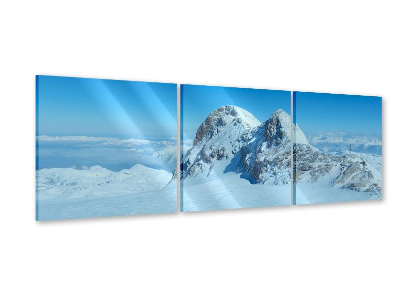 Panorama Acrylglasbild 3-teilig Über den Wolken