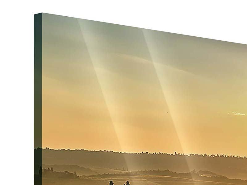 Panorama Acrylglasbild 3-teilig Sonnenuntergang im Gebirge