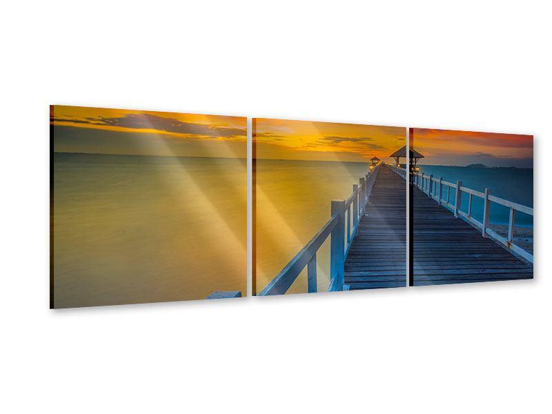 Panorama Acrylglasbild 3-teilig Eine Holzbrücke im fernen Osten