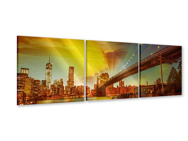 Panorama Acrylglasbild 3-teilig Skyline Brooklyn Bridge NY