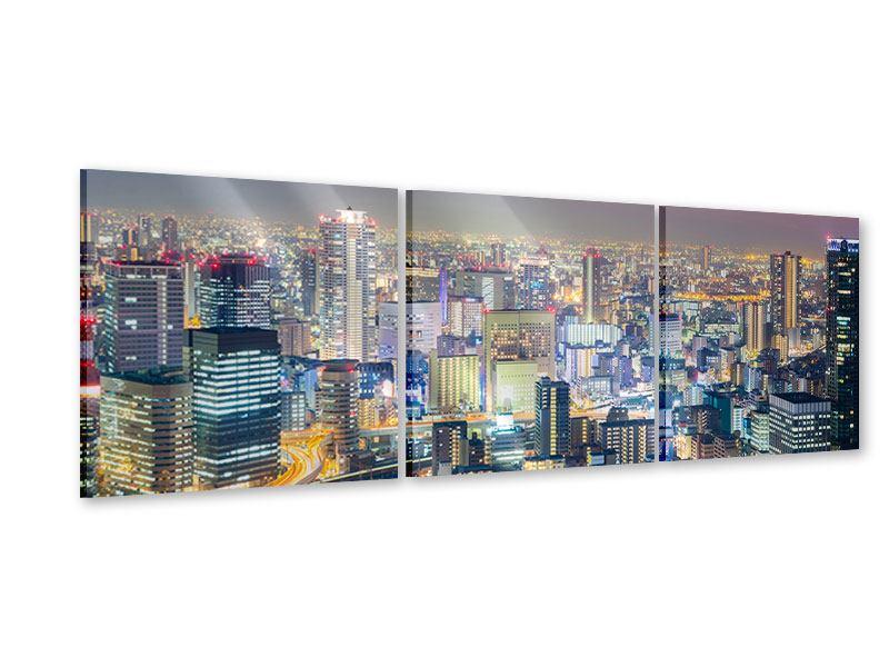 Panorama Acrylglasbild 3-teilig Skyline Osaka bei Sonnenuntergang