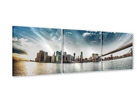 Panorama Acrylglasbild 3-teilig Brooklyn Bridge From The Other Side