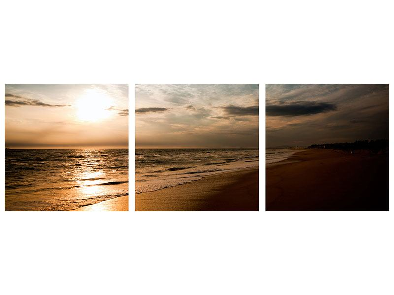 Panorama Acrylglasbild 3-teilig Strandspaziergang