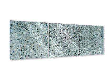 Panorama Acrylglasbild 3-teilig Beton in Grau