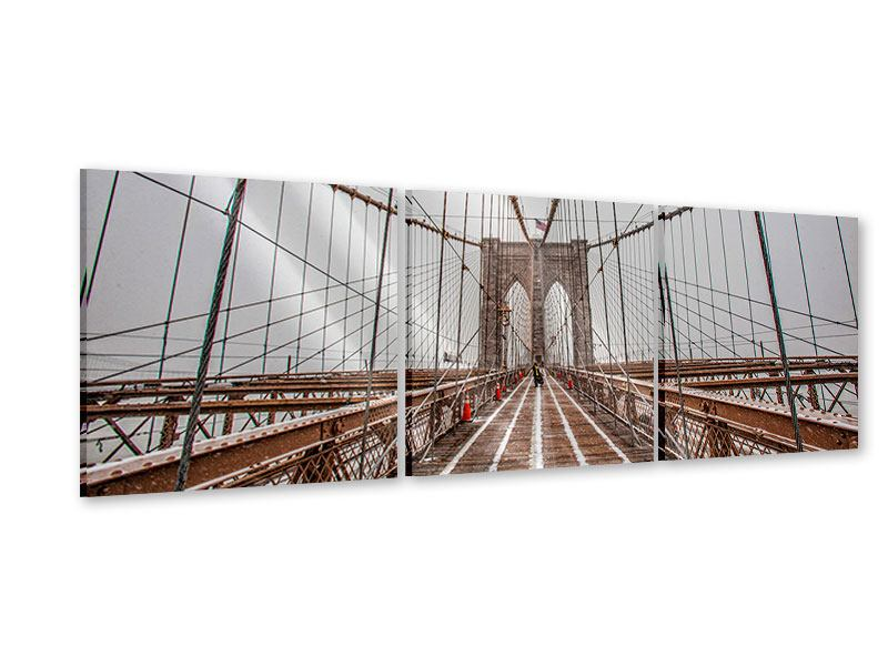 Panorama Acrylglasbild 3-teilig Auf der Brooklyn Bridge