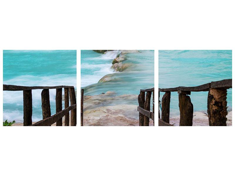 Panorama Acrylglasbild 3-teilig Haus am Wasserfall