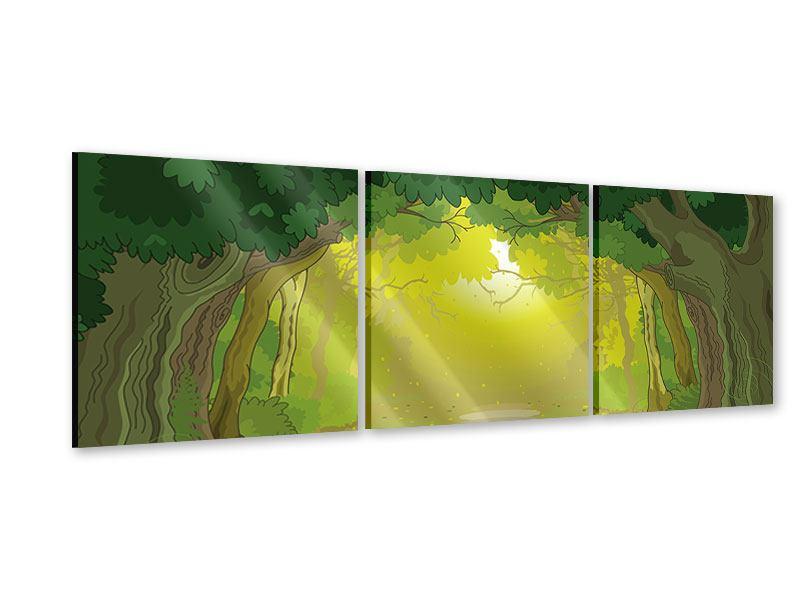 Panorama Acrylglasbild 3-teilig Der Märchenwald