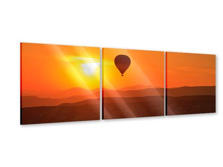 Panorama Acrylglasbild 3-teilig Heissluftballon bei Sonnenuntergang
