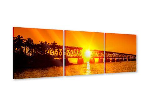 Panorama Acrylglasbild 3-teilig Sonnenuntergang an der Brücke