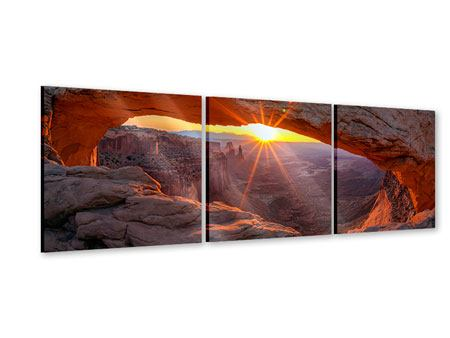 Panorama Acrylglasbild 3-teilig Sonnenuntergang am Mesa Arch