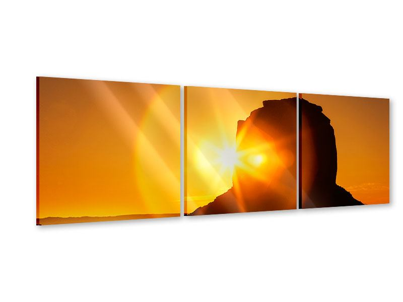 Panorama Acrylglasbild 3-teilig Sonnenuntergang Monument Valley