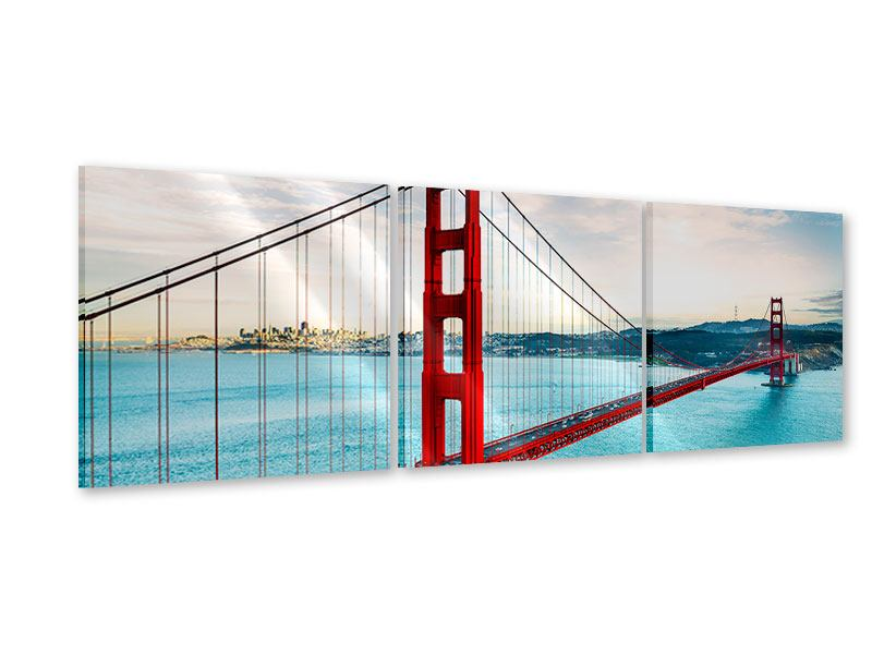 Panorama Acrylglasbild 3-teilig Golden Gate Bridge