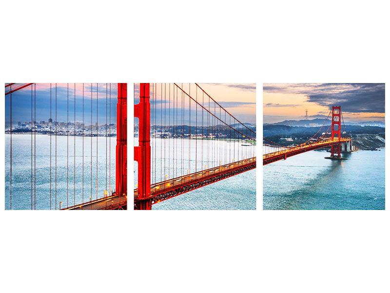 Panorama Acrylglasbild 3-teilig Der Golden Gate Bridge bei Sonnenuntergang