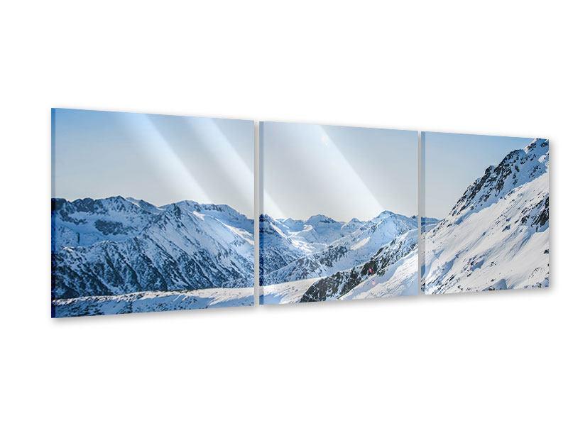 Panorama Acrylglasbild 3-teilig Bergpanorama im Schnee