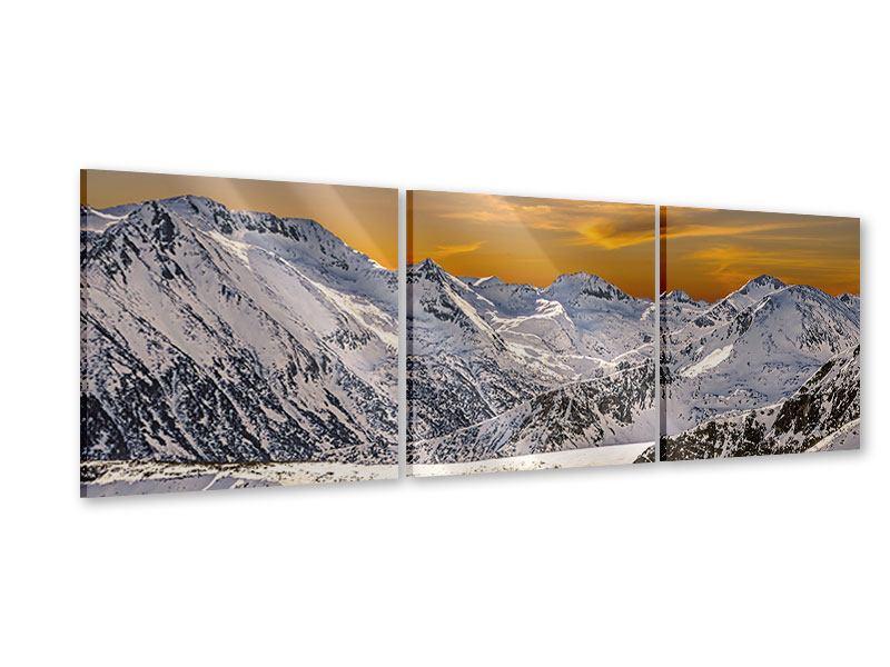 Panorama Acrylglasbild 3-teilig Sonnenuntergang in den Bergen