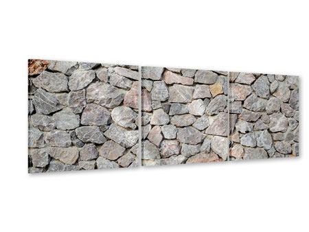 Panorama Acrylglasbild 3-teilig Grunge-Stil Mauer