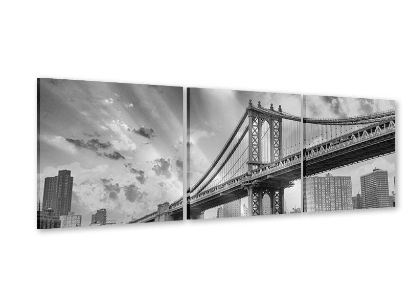 Panorama Acrylglasbild 3-teilig Manhattan Bridge