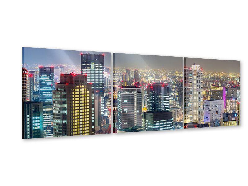 Panorama Acrylglasbild 3-teilig Skyline Osaka im Lichtermeer