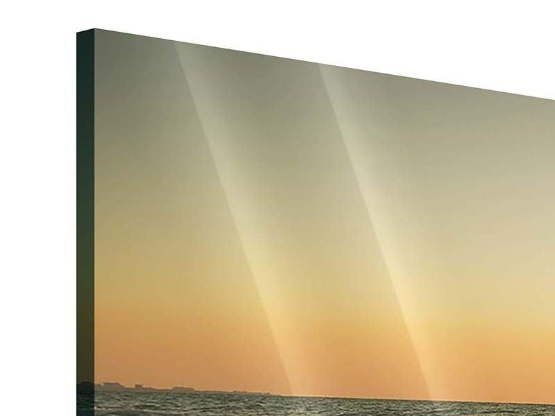 Panorama Acrylglasbild 3-teilig Sonnenuntergang am Meer