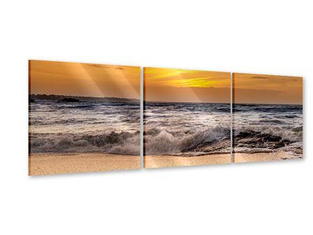 Panorama Acrylglasbild 3-teilig See mit Sonnenuntergang