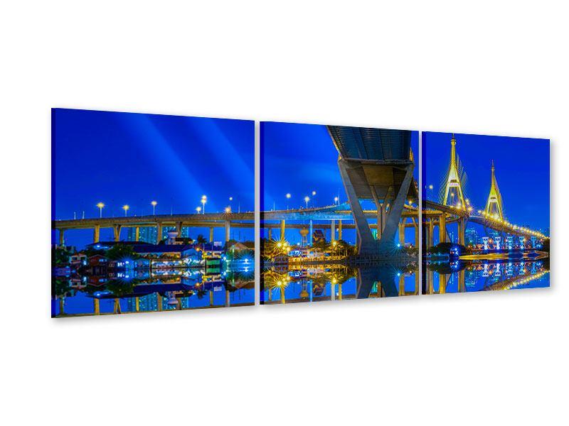 Panorama Acrylglasbild 3-teilig Bhumiboll-Brücke