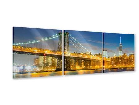 Panorama Acrylglasbild 3-teilig Brooklyn Bridge bei Nacht