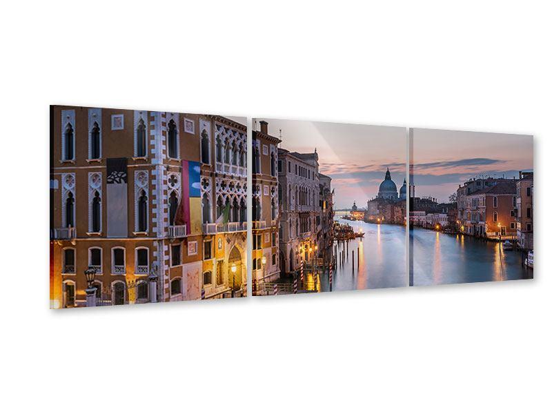 Panorama Acrylglasbild 3-teilig Romantisches Venedig