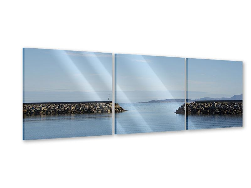 Panorama Acrylglasbild 3-teilig Hafenmauern