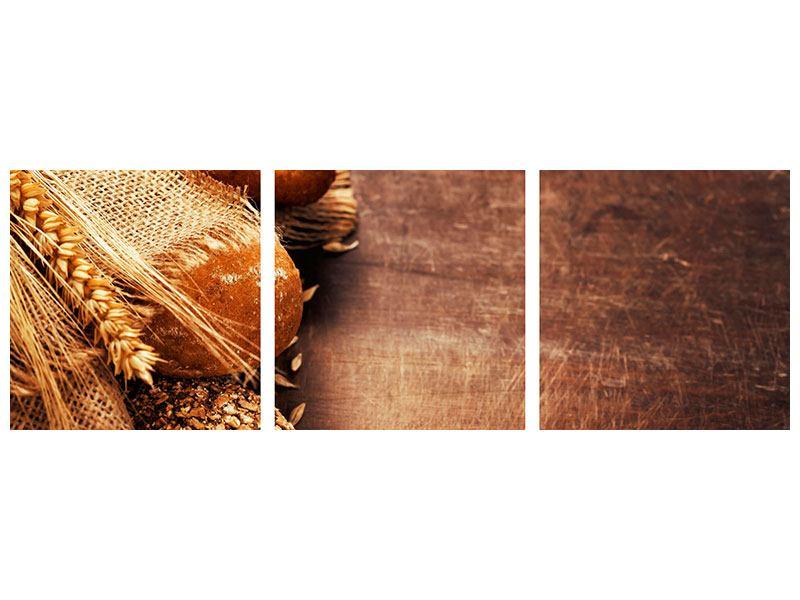 Panorama Acrylglasbild 3-teilig Frische Brote