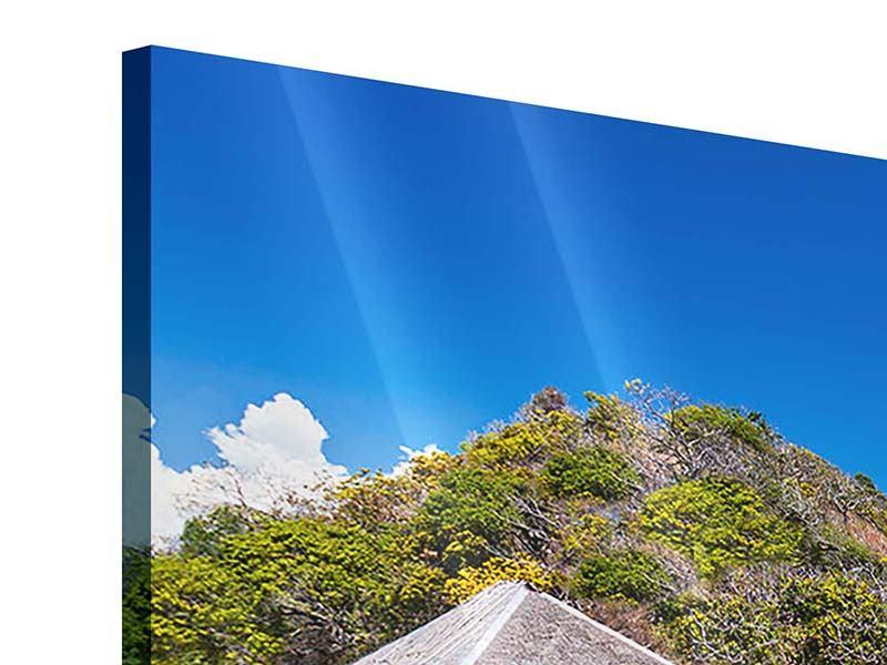Panorama Acrylglasbild 3-teilig Das Haus am Strand