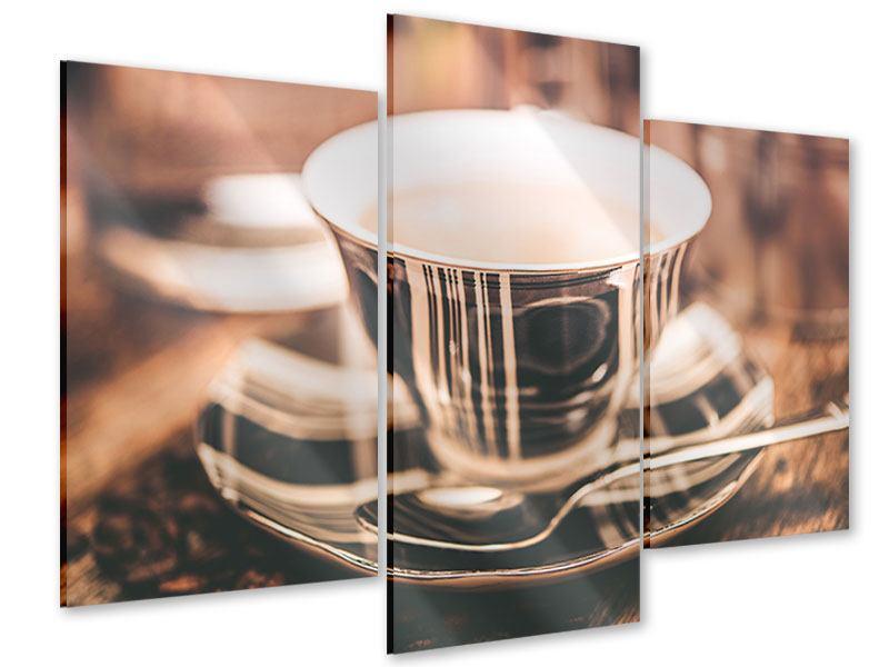 Acrylglasbild 3-teilig modern Der Kaffee ist fertig